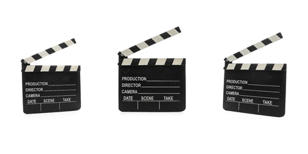 Cinema Clapperboard, three shot in different angles on pure white Background