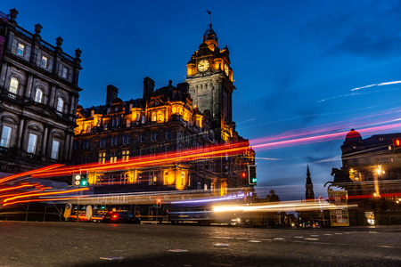 Edinburgh city and Night, Long Exposure shots, Scotland Uk, Traveling in Europe Stock Photo