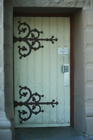 door handle: Unique designed underground church door Stock Photo