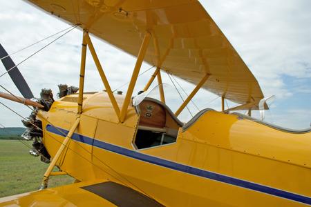 pilot light: Cockpit of vintage 1930 WACO Biplane