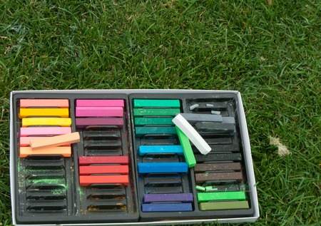 purples: Pastel Chalk Crayons in box outdoors on grass horizontal