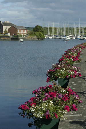 Kinsale, Ireland harbor with sailboats and colorful flowers