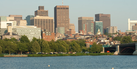 Boston Skyline and Harbor Panorama. Banque d'images