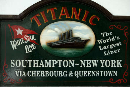 Sign displaying the Titanic and information about the ship in Cobh, Ireland