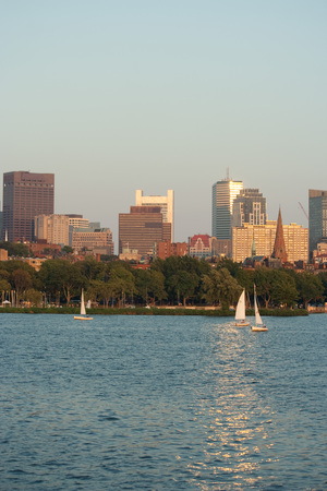 Sailboats and People at the Harbor of the Charles River in Boston Massachusetts