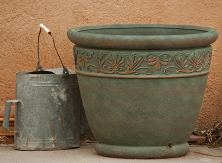 ceremic: Large empty pot for flowers and old water pail Stock Photo