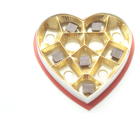 Chocolates in a Heart shaped tin and box