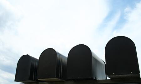 Mailboxes Under Blue Sky Banque d'images