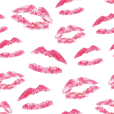 Seamless pattern - red lips kisses prints background. Realistic look lipstick prints. Illustration