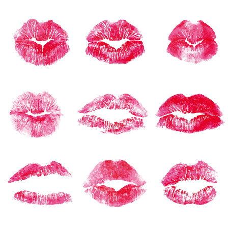 Isolated red lips kisses prints background. Realistic look lipstick prints. Illustration