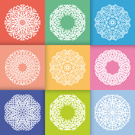 pastel colors: Pattern with Round Ornaments in flat pastel style colors. Vintage decorative geometric elements pattern. Snowflakes or mandala. Stock Photo