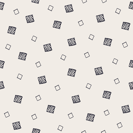 randomized: Hand Drawn Abstract Seamless Pattern with decorative randomized squares. Modern monochrome sketched geometric background. Contemporary festive graphic design.