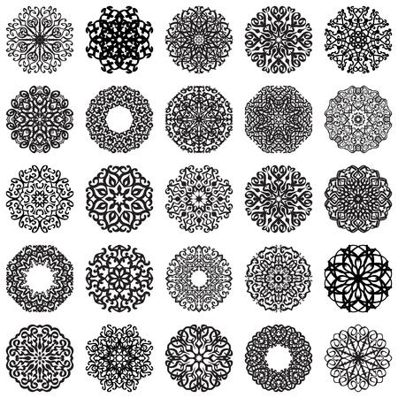 Set of Round Ornaments. Vintage decorative geometric elements pattern.  Islam, Arabic, Indian, Moroccan motifs. Snowflakes or mandala.