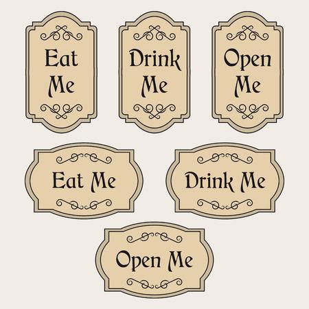 Vintage set with labels Eat me, Drink me, Open me