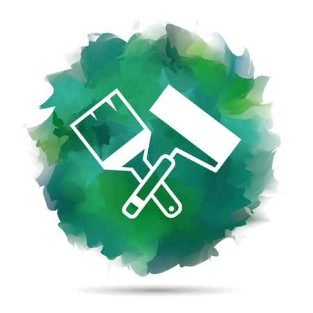 house painter: Paint roller and brush vector icon crossed on watercolor.  Illustration