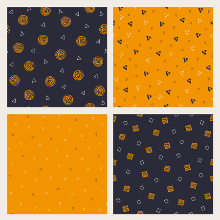 rounds: Set of hand drawn Halloween seamless patterns. Vector collection of backgrounds in traditional holiday colors. Illustration