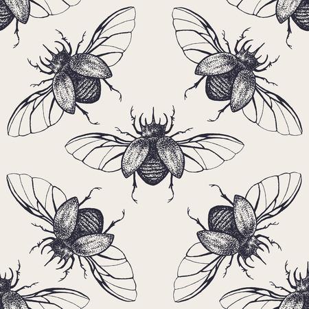 カブトムシのシームレスなパターン。ヴィンテージ手描き昆虫普及の翼を持つ。