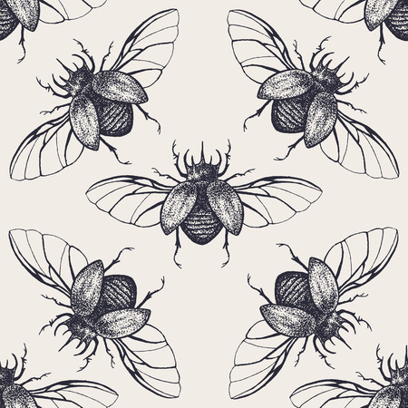 Beetles seamless pattern. Vintage hand drawn insects with spreaded wings.