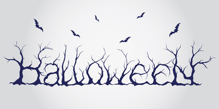 horror: Hand drawn halloween lettering. Trees silhouettes decorated font with bats. Typographical scary vector text. Illustration