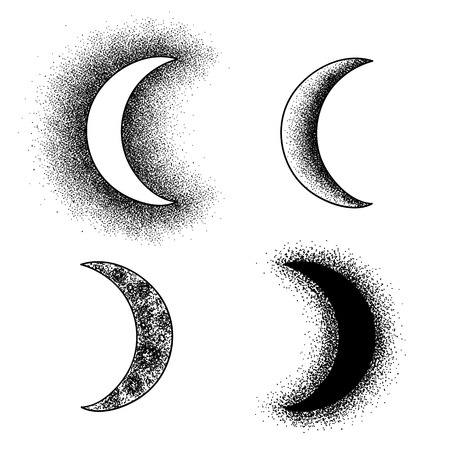moon crater: Black and white hand drawn moon phases set