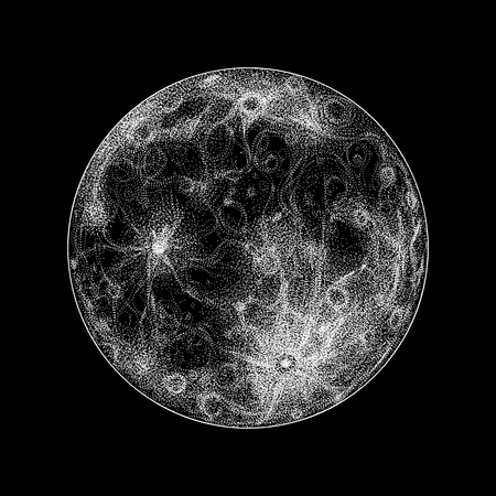 moon crater: Magical full moon on black.