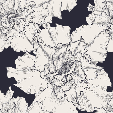 white victorian old retro vintage: Hand drawn vintage seamless floral pattern. Rose adenium flowers