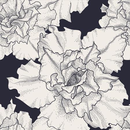 Hand drawn vintage seamless floral pattern. Rose adenium flowers