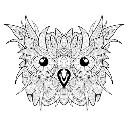 leaf line: Hand drawn high detailed owl head for adult coloring page.
