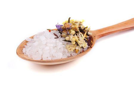 Spoon with sea salt and herbs photo