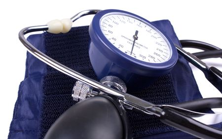 sphygmonanometer: Manual blood pressure medical tool isolated Stock Photo