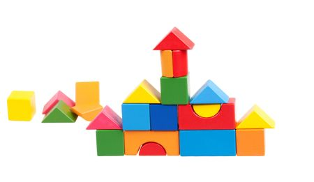 constructed: House constructed of wooden blocks Stock Photo