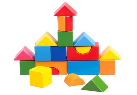 House constructed of wooden blocks Stock Photo