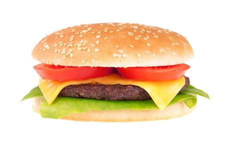 Cheeseburger isolated on white background  photo