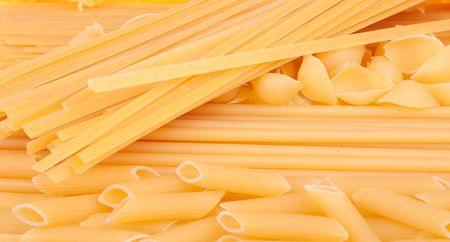Many types of pasta. Background photo