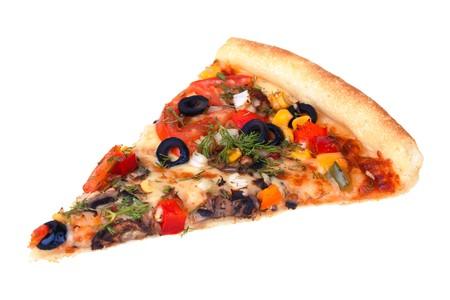 rebanada de pizza: Rebanada de pizza aislado sobre fondo blanco
