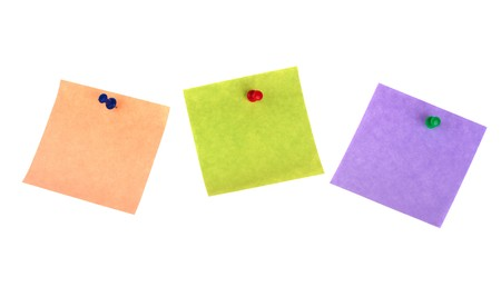 Three sticker notes with pins isolated on white background Stock Photo - 7683444