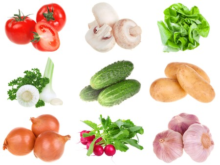 Fresh vegetables isolated on the white background  photo
