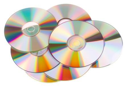 Dischi DVD isolati su sfondo bianco