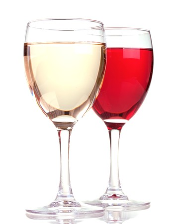 Rose and white wine in a wine glasses isolated on white background photo
