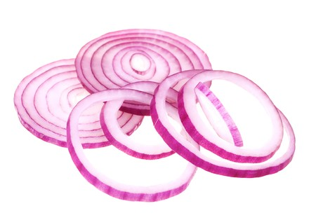 onion isolated: Sliced fresh red onion isolated on white background