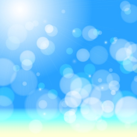 Beautiful sea beach bokeh.  background Vector