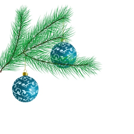 Branch of a Christmas tree with Christmas balls isolated on white background.  illustration Vector