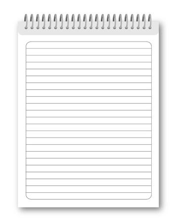 cuaderno espiral: Port�til de espiral en blanco aislada sobre fondo blanco.   ilustraci�n