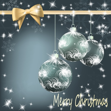 Christmas balls with bow and ribbon background. illustration