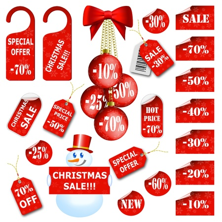 Set of christmas price tags and labels.  illustration Vector