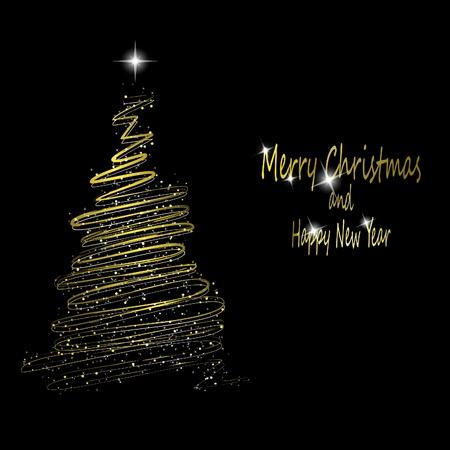 Gouden kerstboom gemaakt van goud linten en sterren op zwarte achtergrond.  illustratie