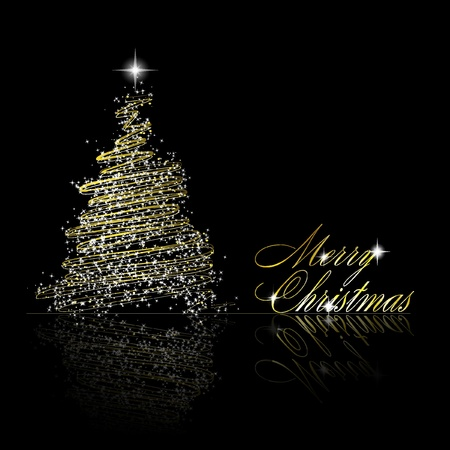 Golden Christmas  tree made of gold ribbons and stars on black background.   illustration Illustration