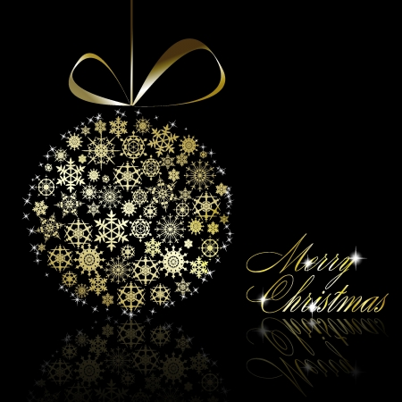 Gouden Kerstmis bal gemaakt van goud sneeuwvlokken met sterren op zwarte achtergrond. illustratie