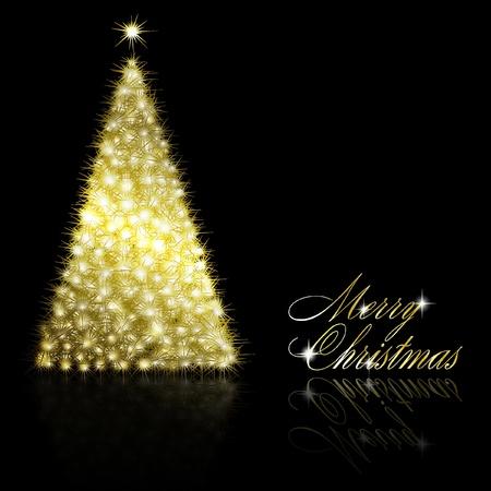 Golden Christmas  tree on black background. illustration Stock Vector - 8687331