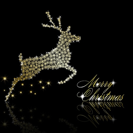 Golden Christmas  deer made of gold snowflakes with stars on black background.   illustration Illustration